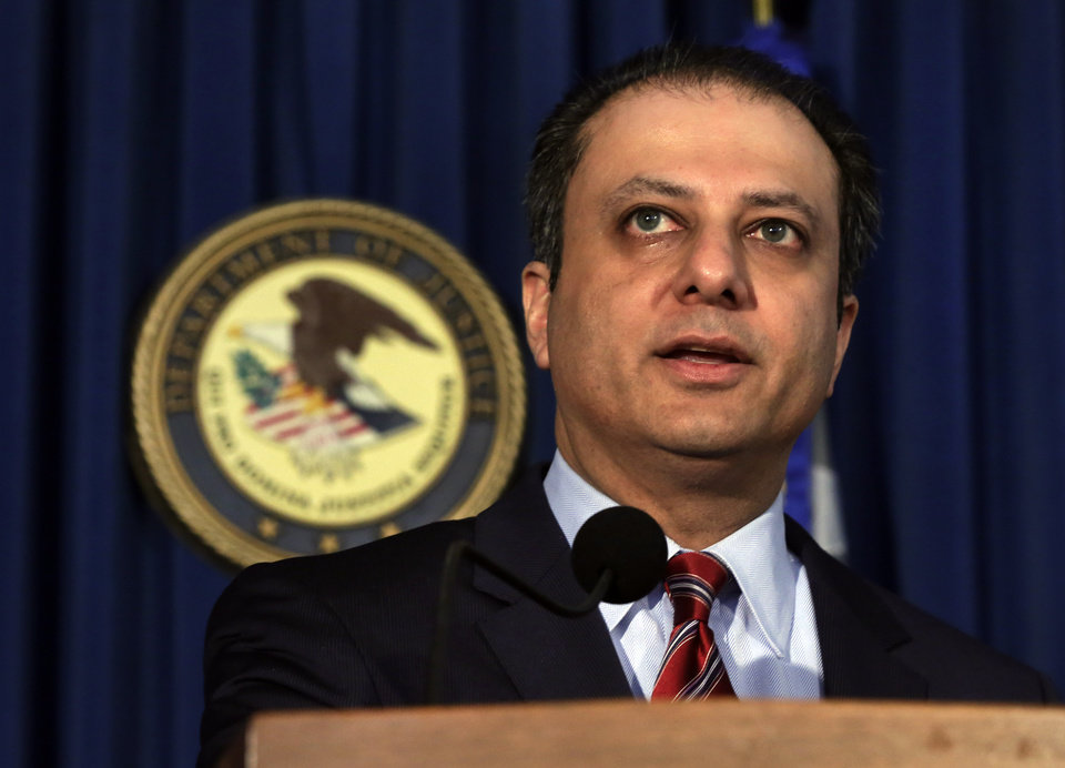 Photo - Preet Bharara, U.S. Attorney for the Southern District of New York, discusses arrests in the malware BlackShades Remote Access Too, during a news conference in New York, Monday, May 19, 2014. More than a half million computers in over 100 countries were infected by sophisticated malware that lets cybercriminals take over a computer and hijack its webcam, authorities said as charges were announced Monday against more than 100 people worldwide. (AP Photo/Richard Drew)