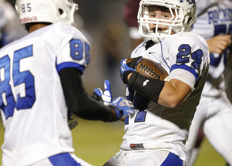 Mount St. Mary\'s Joe Castiglone Jr. runs for a touchdown during their high school football game against Northeast at Douglass in Oklahoma City, Thursday, Sept. 19, 2013. Photo by Bryan Terry, The Oklahoman