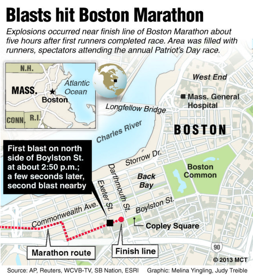 Map of downtown Boston, Mass., locates the area near the Boston Marathon finish line where two explosions erupted about five hours after the race began; map also shows area landmarks; facts about the incident. MCT 2013<p>