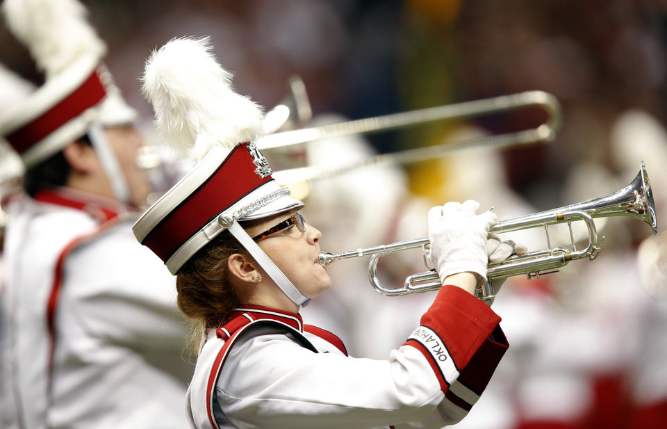 Photo - The Pride of Oklahoma performs during the NCAA football BCS Sugar Bowl game between the University of Oklahoma Sooners (OU) and the University of Alabama Crimson Tide (UA) at the Superdome in New Orleans, La., Thursday, Jan. 2, 2014.  .Photo by Chris Landsberger, The Oklahoman