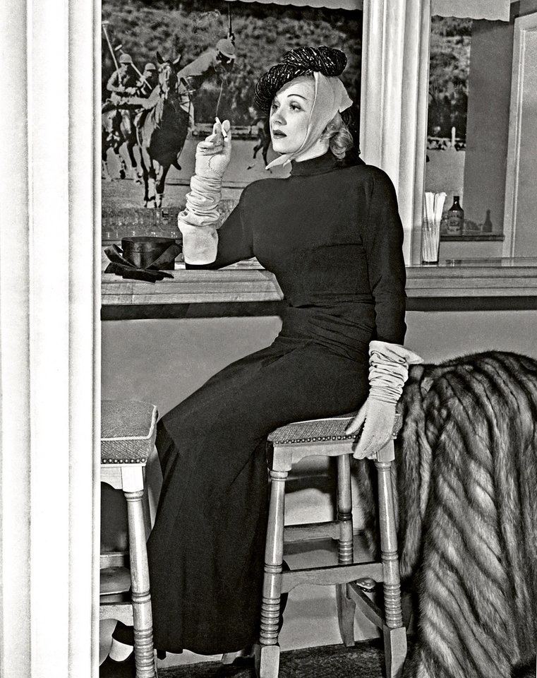 Photo -   In this undated image released by Beverly Hills Collection, actress Marlene Dietrich is seen inside the Polo Lounge at The Beverly Hills Hotel. The Beverly Hills Hotel is celebrating its 100th Anniversary in May. (AP Photo/Beverly Hills Collection)
