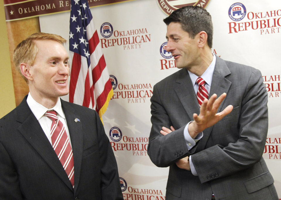 Republican Oklahoma U.S. Rep. James Lankford, left, talks with U.S. Rep. Paul Ryan, R-Wis, who was in Oklahoma City for a fundraiser for Lankford, Monday, November 21, 2011. Photo by Doug Hoke, The Oklahoman