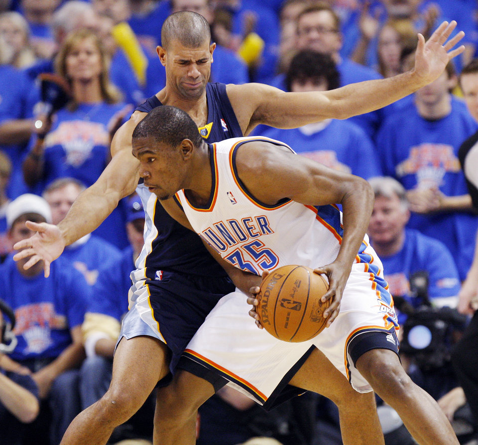 Shane Battier (31) of Memphis defends Oklahoma City's Kevin Durant (35) in the second half during game 7 of the NBA basketball Western Conference semifinals between the Memphis Grizzlies and the Oklahoma City Thunder at the OKC Arena in Oklahoma City, Sunday, May 15, 2011. The Thunder won, 105-90. Photo by Nate Billings, The Oklahoman