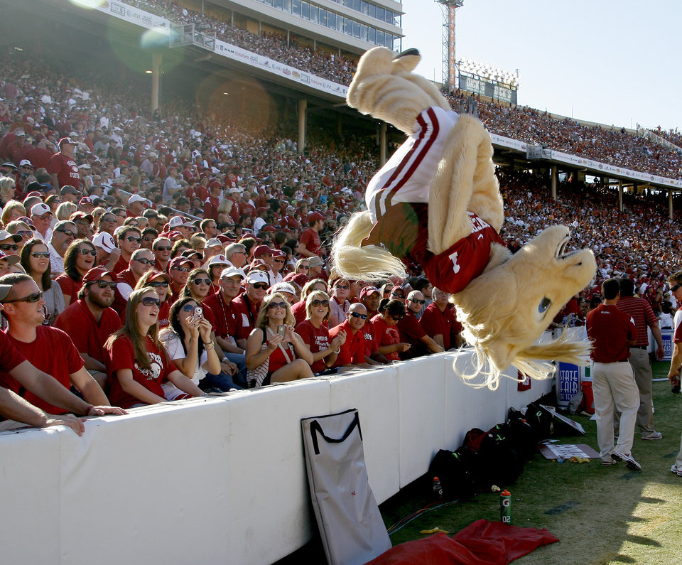 Photo - Fans watch Boomer do a back flip during the second half of the Red River Rivalry college football game between the University of Oklahoma Sooners (OU) and the University of Texas Longhorns (UT) at the Cotton Bowl on Saturday, Oct. 2, 2010, in Dallas, Texas.   Photo by Bryan Terry, The Oklahoman