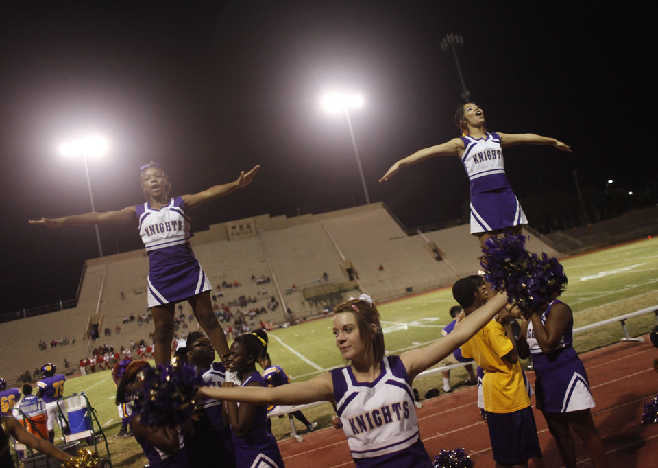 NWC cheer squad at the Northwest Classen vs. Western Heights high school football game at Taft Stadium Thursday, September 20, 2012. Photo by Doug Hoke, The Oklahoman