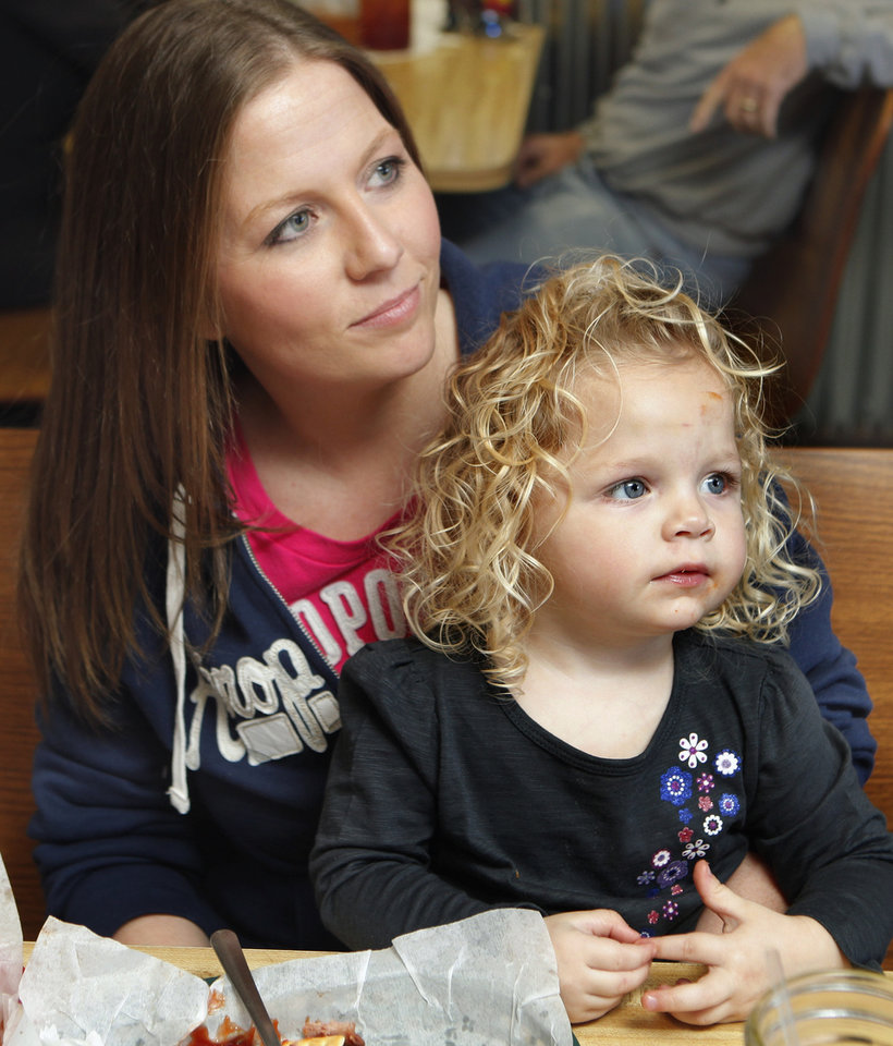 Blanchard resident Kamby Schmidt and her daughter Ashlyn, 2,  at Dakota's Cafe on Wednesday, Jan. 11, 2012, in Blanchard, Okla.   Photo by Steve Sisney, The Oklahoman