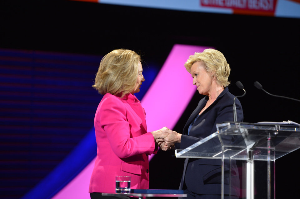 Photo - This image released by Women in the World shows former Secretary of State Hillary Rodham Clinton, left, being greeted by Tina Brown, Editor in Chief, Newsweek & The Daily Beast at the Women in the World Conference on Friday, April 5, 2013 in New York. Clinton said Friday that the rights of women represent