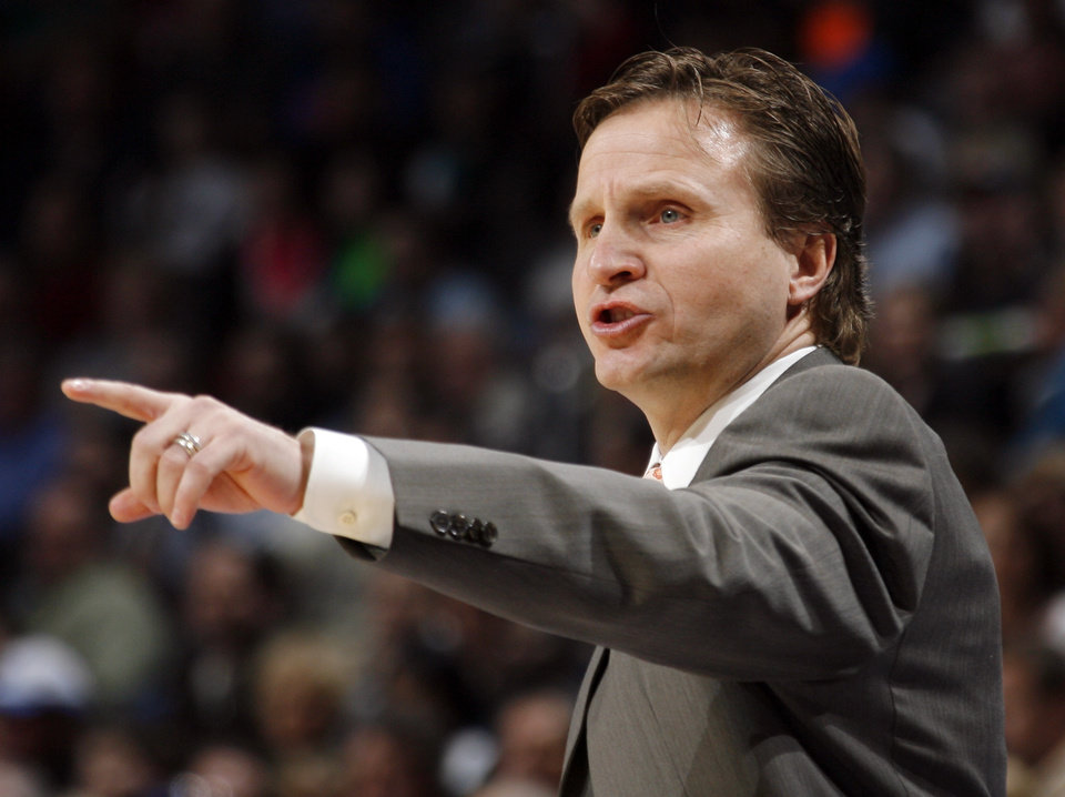 Photo - Oklahoma City head coach Scott Brooks gives instructions to his team during the NBA basketball game between the Phoenix Suns and the Oklahoma City Thunder at the Ford Center in Oklahoma City, Tuesday, Feb. 23, 2010. Photo by Nate Billings, The Oklahoman ORG XMIT: KOD