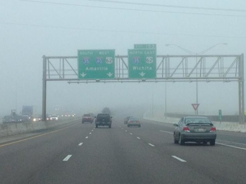 Photo - Fog during the morning commute in Oklahoma City, Monday, Dec. 2, 2013 - Photo by Jim Beckel