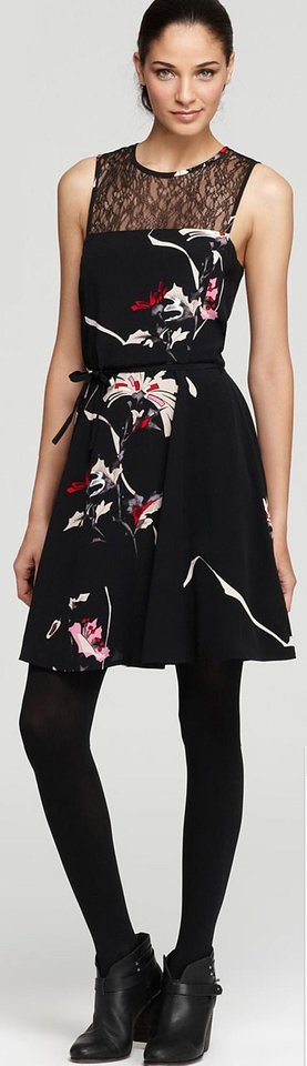 Floral prints are making a big comeback this spring. Here, French Connection Anya Lace Yoke dress for $158 from Bloomingdales.com. (Courtesy Bloomingdales.com via Los Angeles Times/MCT)