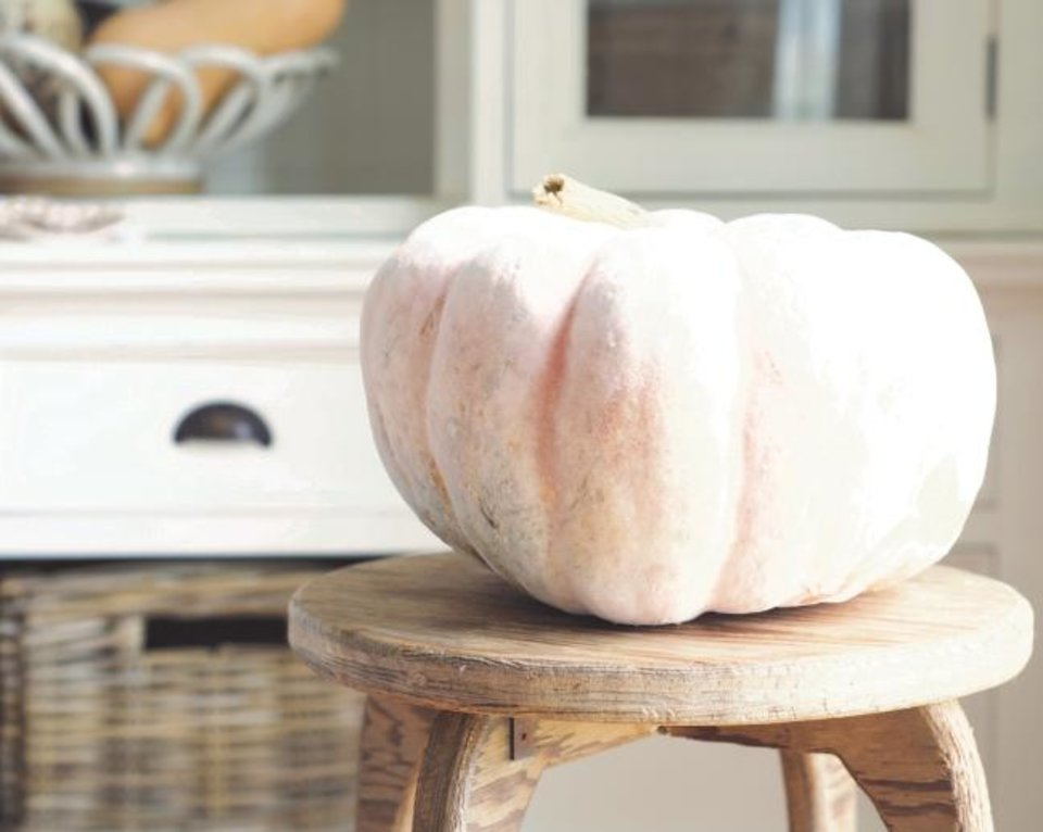 Photo -  When decorating for the season, don't rely on factory-made pretend decor,  Welcome Home author Myquillyn Smith says. This fall, instead of a dozen plastic pumpkins, make a statement with one big, quirky real pumpkin. [Photo provided/Myquillyn Smith]
