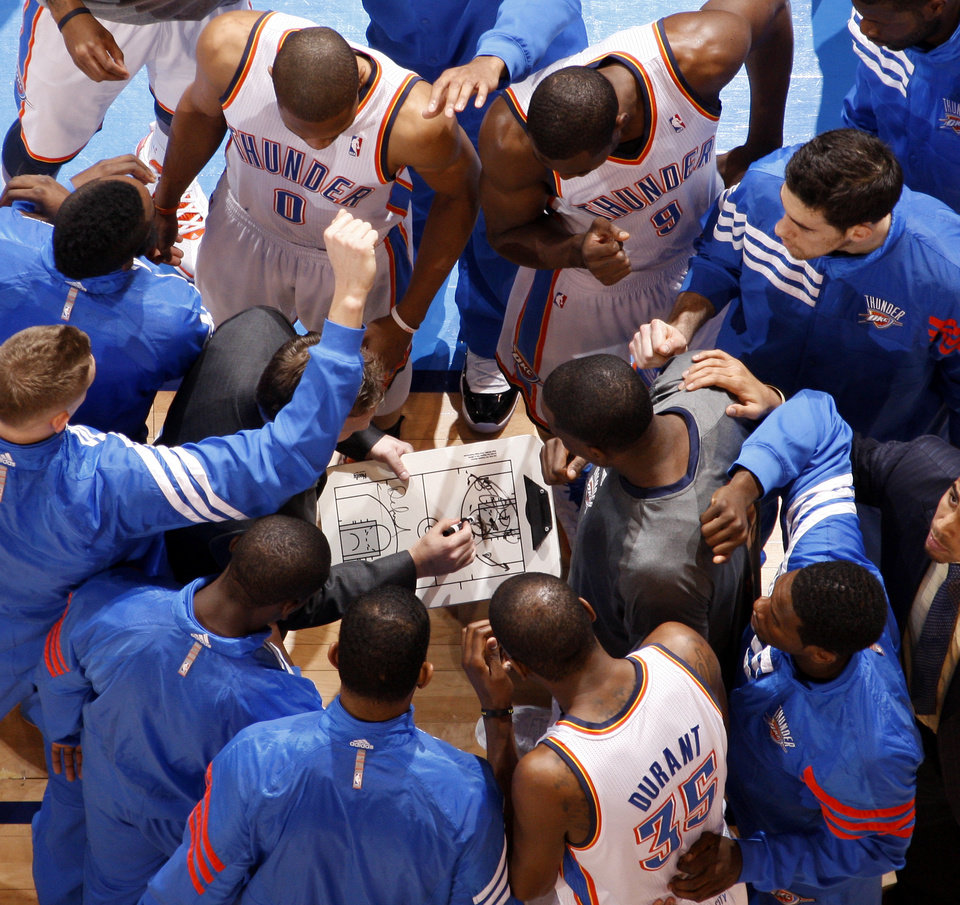 The Oklahoma City Thunder huddle up before the NBA basketball game between the Oklahoma City Thunder and the Cleveland Cavaliers at Chesapeake Energy Arena in Oklahoma City, Friday, March 9, 2012. Photo by Bryan Terry, The Oklahoman