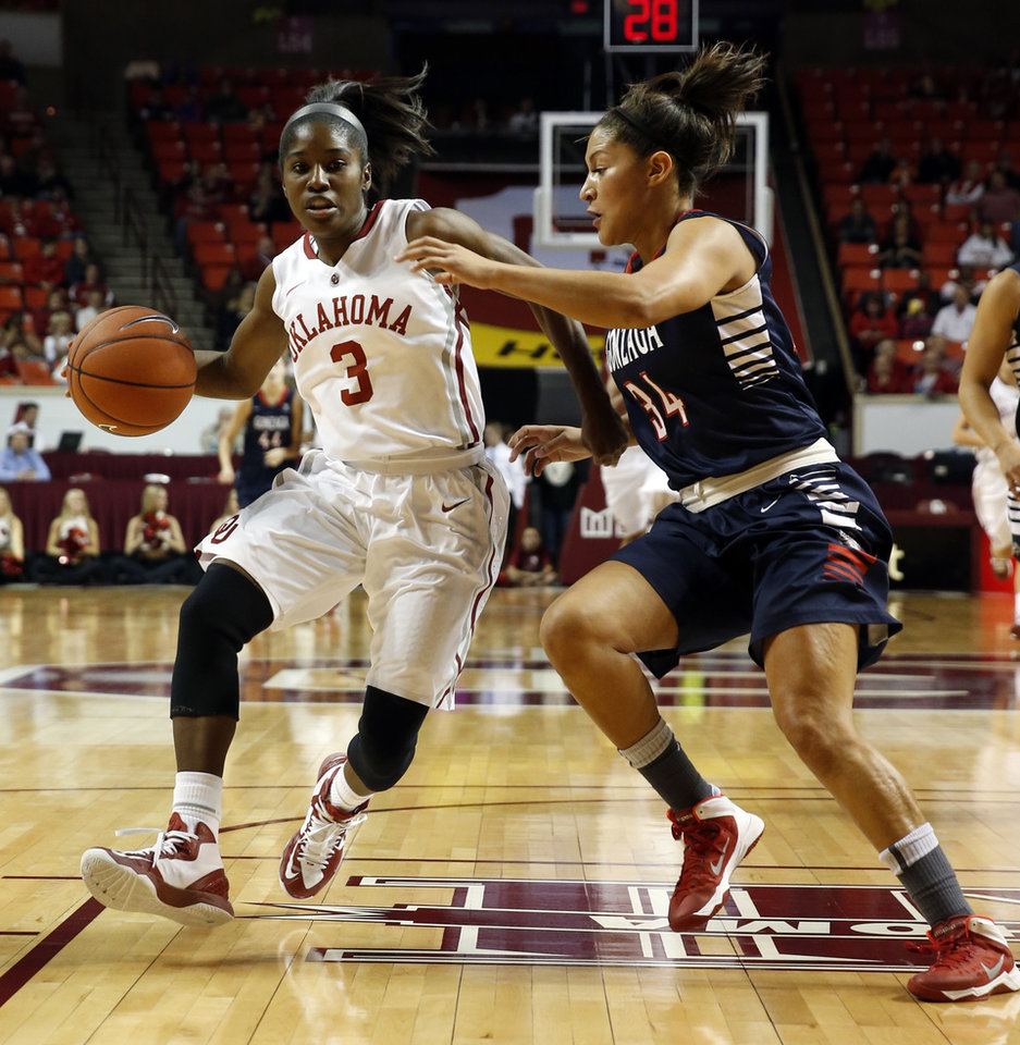 Photo - Oklahoma Sooner's Aaryn Ellenberg (3) drives past Jazmine Redmon (34) as the University of Oklahoma Sooners (OU) play the Gonzaga Bulldogs in NCAA, women's college basketball at The Lloyd Noble Center on Thursday, Nov. 14, 2013  in Norman, Okla. Photo by Steve Sisney, The Oklahoman