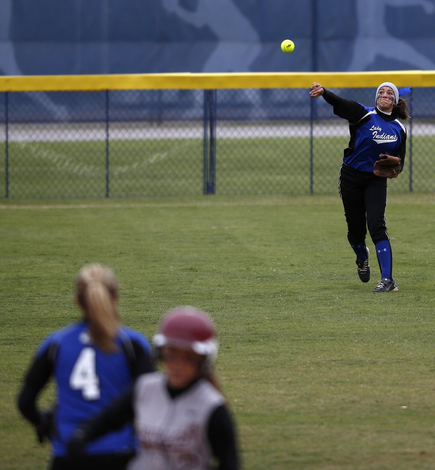 Photo - Little Axe's Ally Allen (23) throws a ball from outfield during the 3A OSSAA Championship softball game between Little Axe and Sequoyah at ASA Hall of Fame Stadium in Oklahoma City, Saturday, Oct. 6, 2012.  Photo by Garett Fisbeck, The Oklahoman