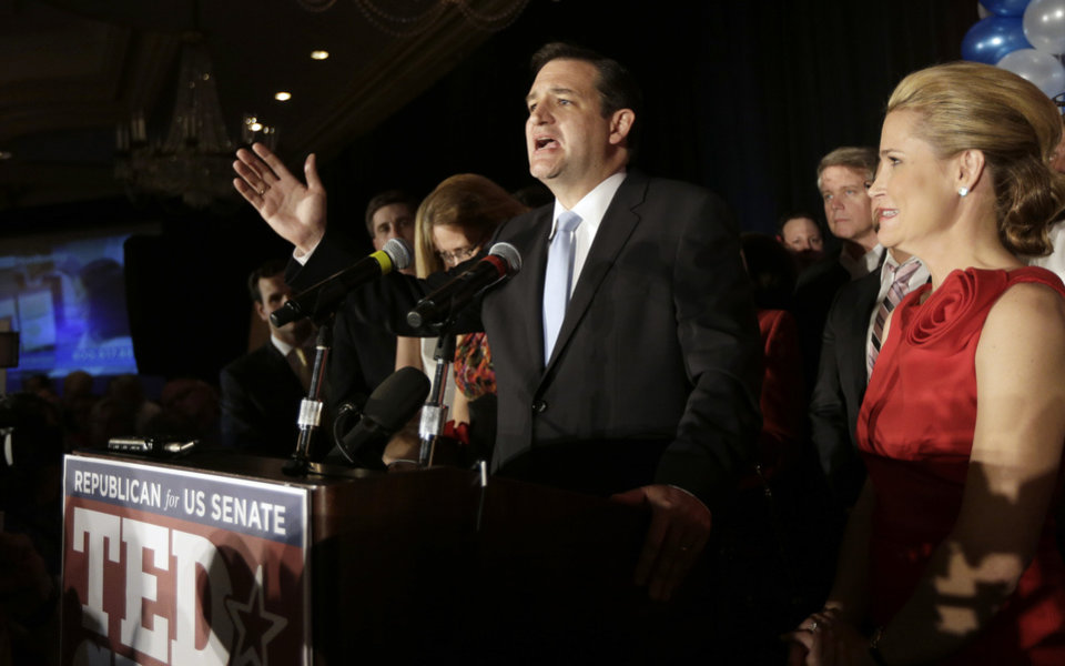 Photo -   Republican candidate for U.S. Senate Ted Cruz delivers his victory speech as he is joined on stage by his wife Heidi, right, Tuesday, Nov. 6, 2012, in Houston. Cruz defeated Democrat Paul Sadler to replace retiring U.S. Sen. Kay Bailey Hutchison. (AP Photo/David J. Phillip)