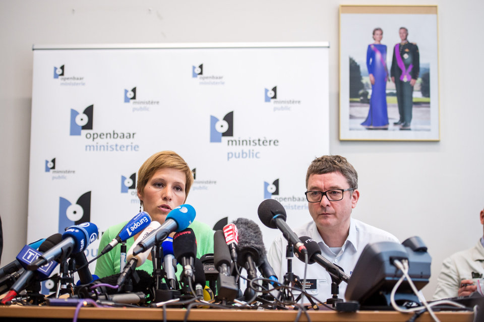 Photo - Deputy prosecutor Ine Van Wymersch, left, addresses the media on the shooting at the Jewish Museum in Brussels, Sunday May 25, 2014.  Police stepped up security at Jewish institutions, schools and synagogues after three people were killed and one seriously injured in a spree of gunfire at the Jewish Museum in Brussels on Saturday. (AP Photo/Geert Vanden Wijngaert)