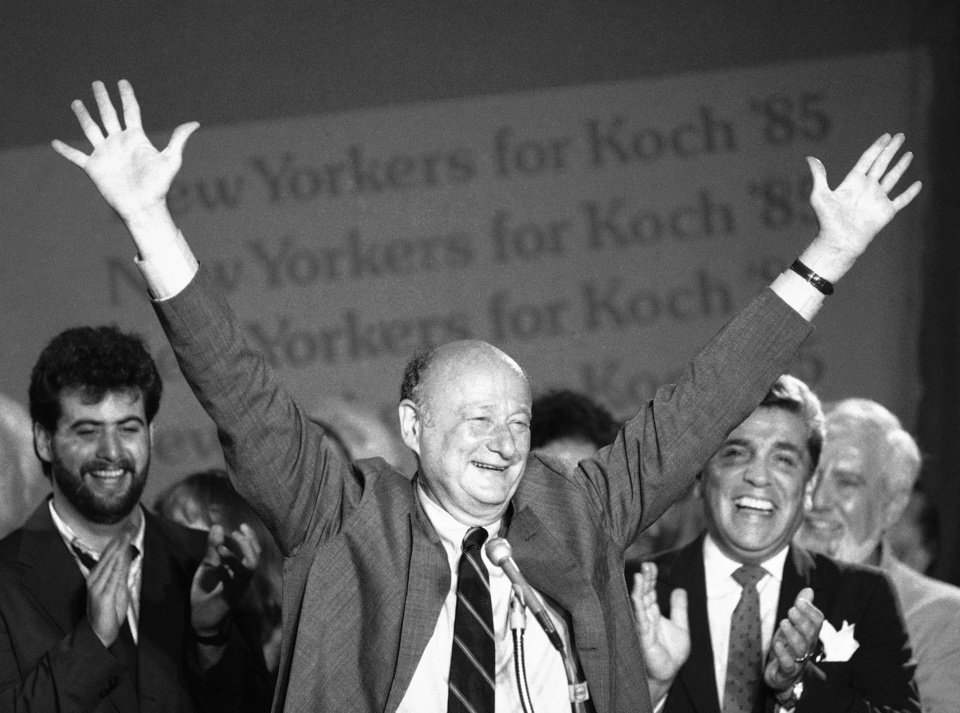 In this Sept. 11, 1985 file photo, New York Mayor Ed Koch raises his arms in victory at the Sheraton Centre in New York after winning the Democratic primary in his bid for a third four-year term.   Koch died Friday, Feb. 1, 2013 from congestive heart failure, spokesman George Arzt said. He was 88. (AP Photo/Mario Suriani, file)