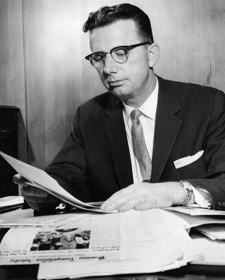 John L. Peters, founder of World Neighbors, in a photo dated Aug. 15, 1957. Peters was nominated three times for the Nobel Peace Prize. <strong>CLIFF KING - The Oklahoman Archives</strong>
