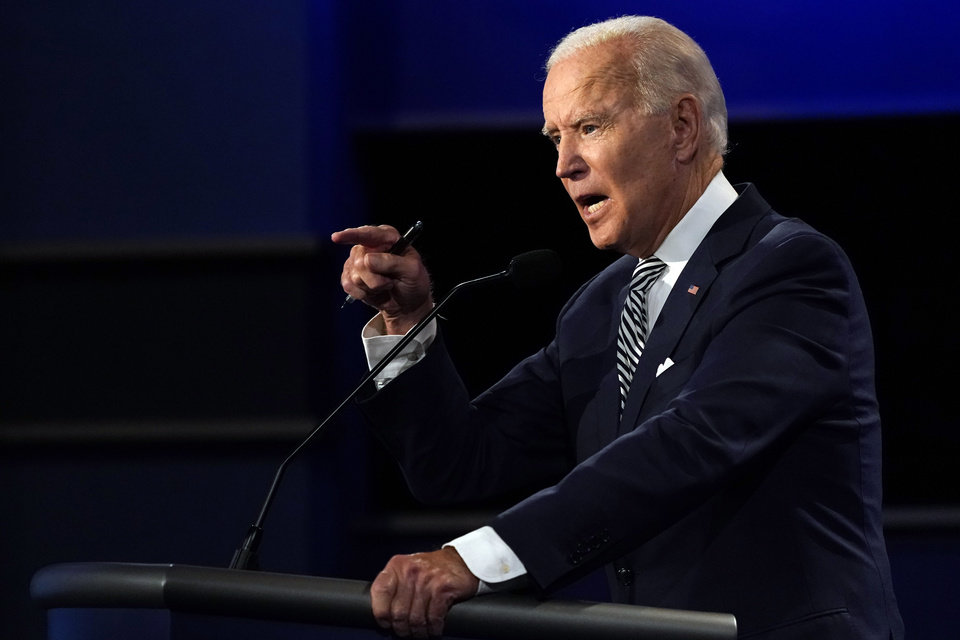 Photo - Democratic presidential candidate former Vice President Joe Biden speaks during the first presidential debate Tuesday, Sept. 29, 2020, at Case Western University and Cleveland Clinic, in Cleveland, Ohio. (AP Photo/Julio Cortez)