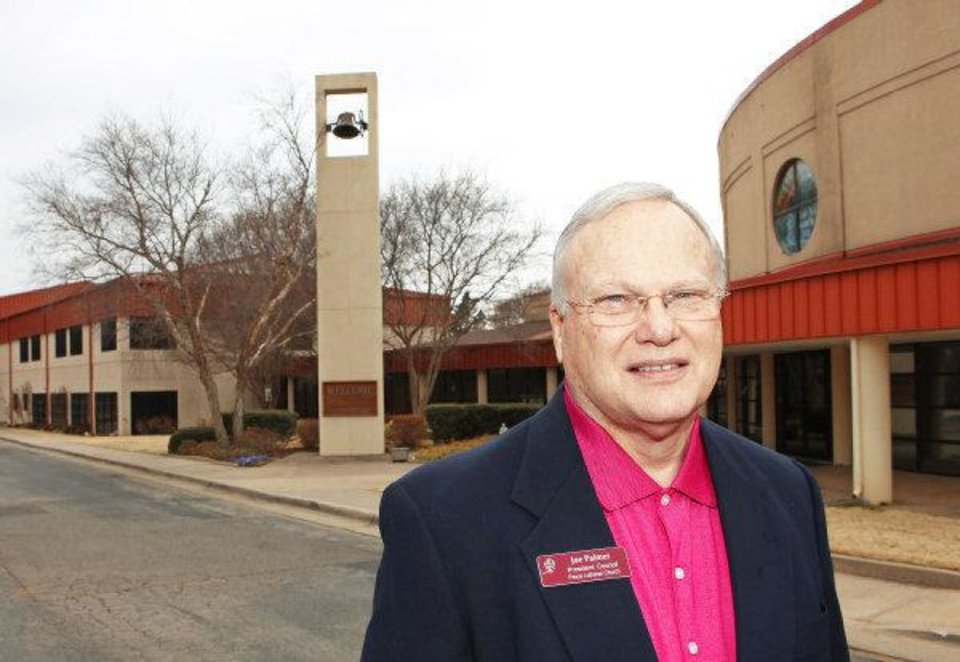 Photo - Joe Palmer in front of Peace Lutheran Church, Friday, March 4, 2011. The church recently voted to leave the Evangelical Lutheran Church of America denomination because of its Aug. 2010 OK of ordaining gay/lesbian clergy. The church is without a pastor at this time and will vote this spring on joining a new denomination. Palmer serves as the church's congregational leader at this time. Photo by David McDaniel, The Oklahoman. ORG XMIT: KOD