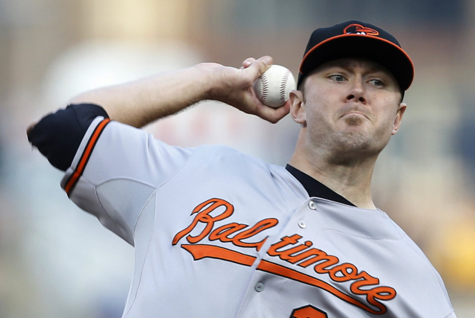 Photo - Baltimore Orioles starting pitcher Chris Tillman (30) throws against the Pittsburgh Pirates in the first inning of the baseball game on Wednesday, May 21, 2014, in Pittsburgh. (AP Photo/Keith Srakocic)