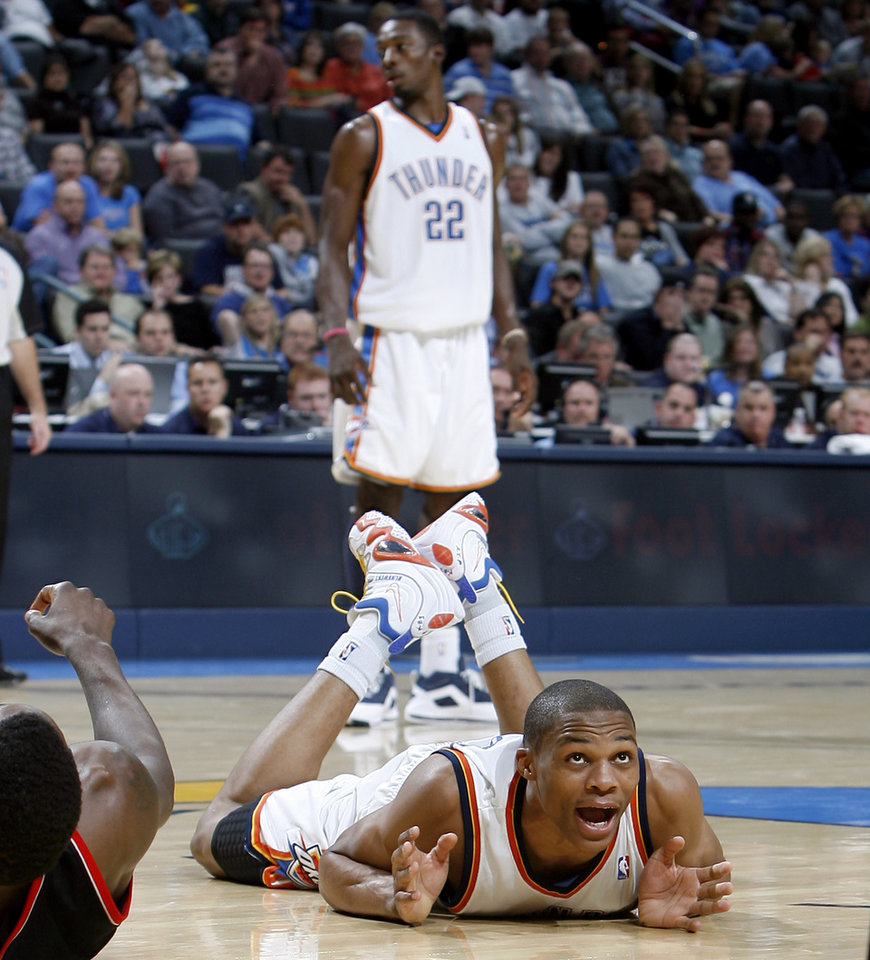 Photo - Oklahoma City's Russell Westbrook (0) reacts to a call during the NBA basketball game between the Oklahoma City Thunder and the Portland Trail Blazers, Sunday, Nov. 1, 2009, at the Ford Center in Oklahoma City. Photo by Sarah Phipps, The Oklahoman ORG XMIT: KOD