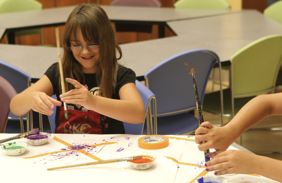 Keara Candalisa, 8, copies the style of Jackson Pollock on her pinwheel at the Oklahoma City Museum of Art, June 4 2011. Photo by Garett Fisbeck, The Oklahoman