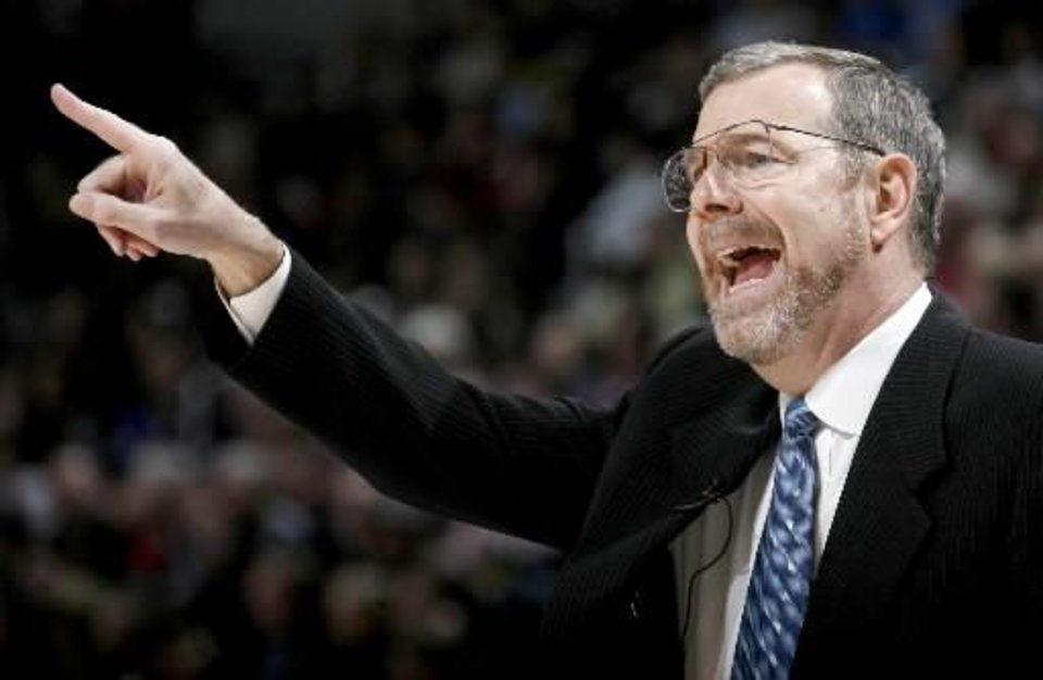 Oklahoma City coach  P.J.  Carlesimo shouts during the NBA basketball game between the Oklahoma City Thunder and the New Orleans Hornets at the Ford Center in Oklahoma City on Friday, Nov. 21, 2008. By Bryan Terry.