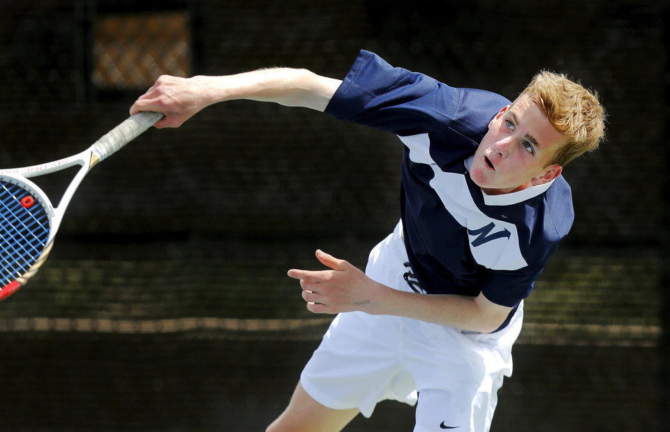 Photo - Edmond North player David Hager battles Connor Finerty of Muskogee in the 6A boys number one singles final during state championship tennis tournaments at the OKC Tennis Center on N. Portland Saturday afternoon, May 17, 2014. Photo by Jim Beckel, The Oklahoman