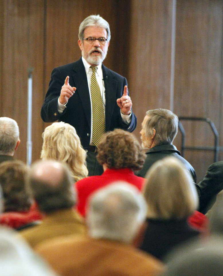 Oklahoma U.S. Senator Tom Coburn speaks to citizens at a town hall meeting at the University of Central Oklahoma in Edmond, OK, Saturday, Feb. 4, 2012. By Paul Hellstern, The Oklahoman