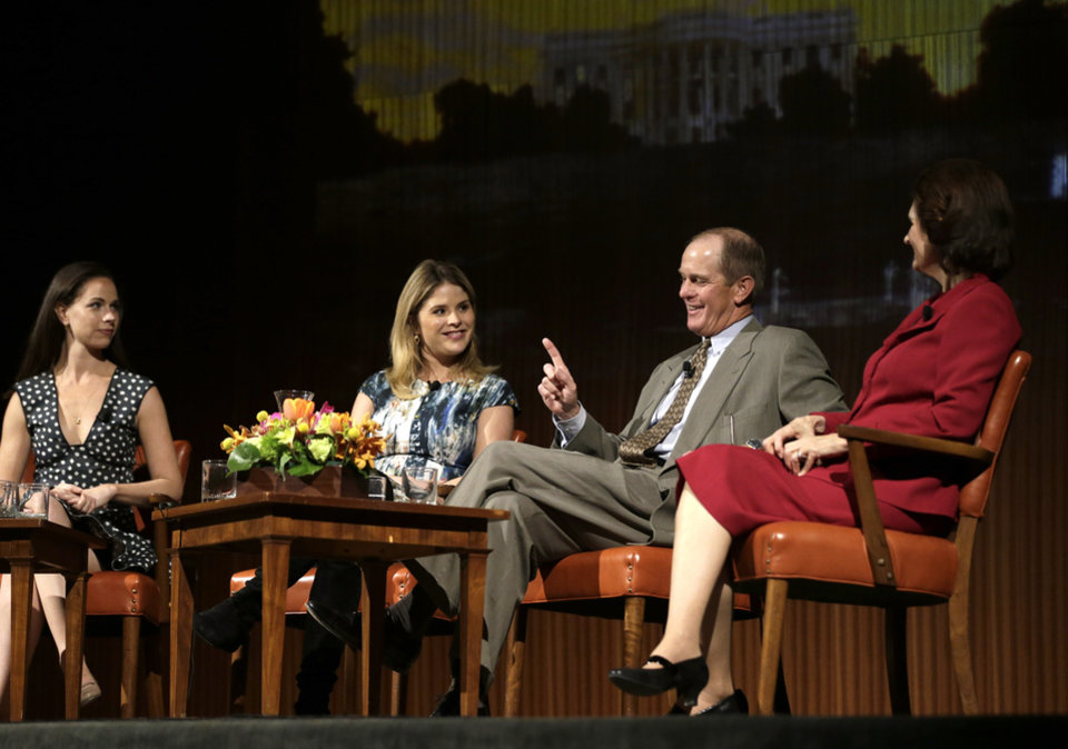 Steve Ford, second from right, talks about life in the White House as he is joined on stage by, from left to right, Barbara Pierce Bush, Jenna Bush Hager, and Lynda Johnson Robb during the Enduring Legacies of America�s First Ladies conference Thursday, Nov. 15, 2012, in Austin, Texas. The children of three presidents discussed life in the White House as part of a conference on first ladies at the Lyndon B. Johnson Presidential Library. (AP Photo/David J. Phillip)
