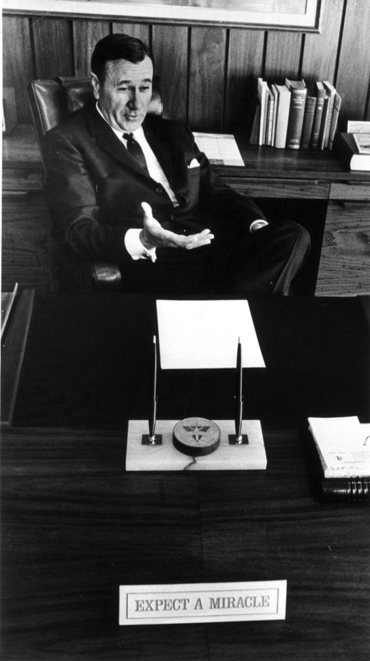 Evangelist Oral Roberts chats in his office in this staff photo by Bob Albright taken 4/6/68.