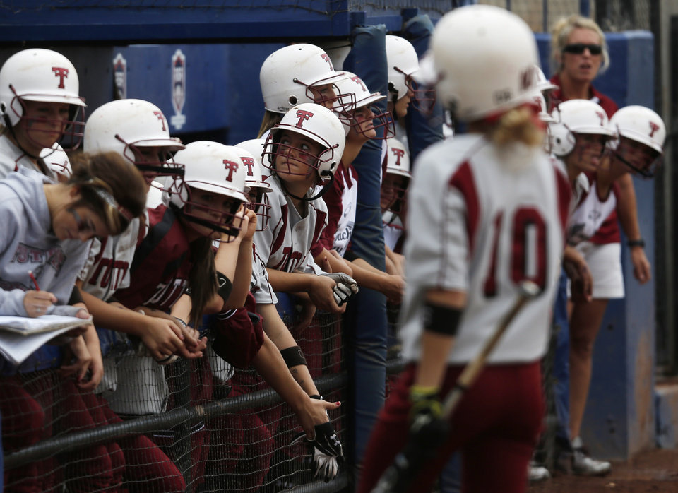 Tuttle players watch during the 4A state softball semifinals game between Oolagah-Talala and Tuttle at ASA Hall of Fame Stadium in Oklahoma City, Okla., Friday, Oct. 12, 2012.  Photo by Garett Fisbeck, The Oklahoman