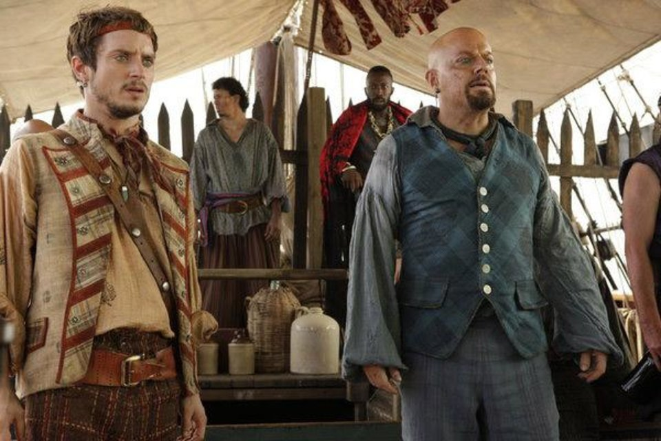 "TREASURE ISLAND -- ""Syfy Original Movie"" -- Pictured: (l-r) Elijah Wood as Ben Gunn, Eddie Izzard as Long John -- (Photo by: Syfy)"