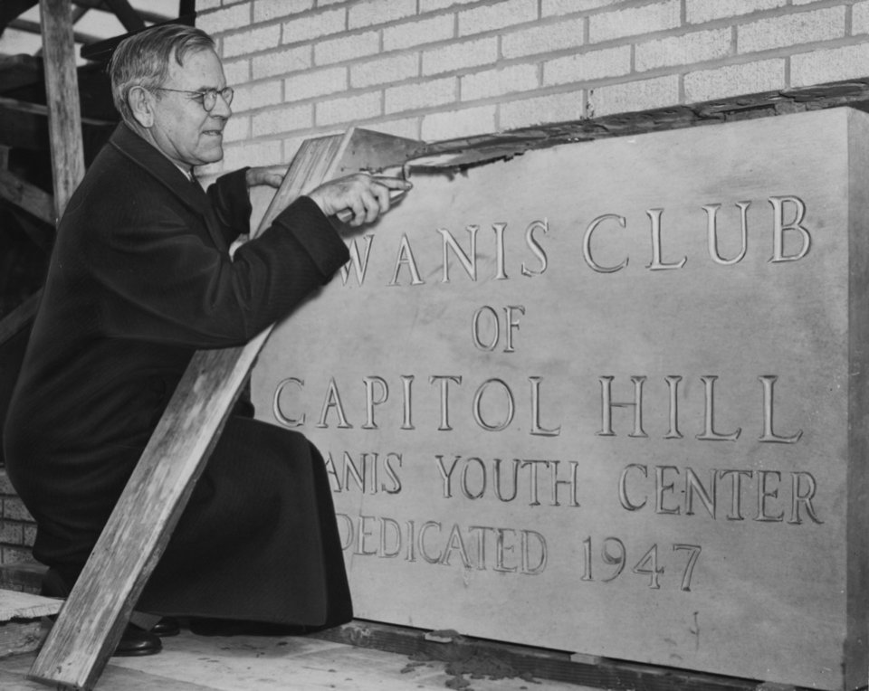 Photo - OKLAHOMA CITY MAYOR / ROBERT A. HEFNER / CITY MAYOR / DECEASED 1/22/1971: Robert A. Hefner pictured in front of youth center dedication stone. Staff photo by Al McLaughlin and dated 2/26/1947. Photo published in The Oklahoman on 2/27/1947.