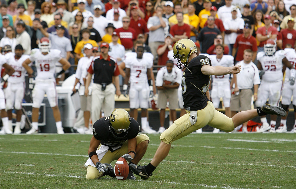 The OU bech watches as Kevin Eberhart of Colorado kicks the game-winning field goal during the second half of the college football game between the University of Oklahoma Sooners (OU) and the University of Colorado Buffaloes (CU) at Folsom Field on Saturday, Sept. 28, 2007, in Boulder, Co.  By Bryan Terry, The Oklahoman