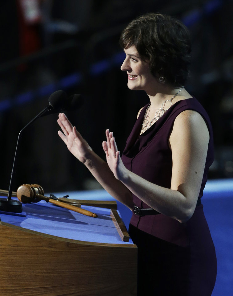 Photo - Sandra Fluke, attorney and women's rights activist, speaks to delegates at the Democratic National Convention in Charlotte, N.C., on Wednesday, Sept. 5, 2012. (AP Photo/Lynne Sladky)  ORG XMIT: DNC177