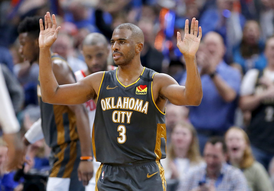 Photo - Oklahoma City's Chris Paul (3) reacts after a lay up in the fourth quarter during the NBA basketball game between the Oklahoma City Thunder and the Houston Rockets at the Chesapeake Energy Arena in Oklahoma City,  Thursday, Jan. 9, 2020.  [Sarah Phipps/The Oklahoman]