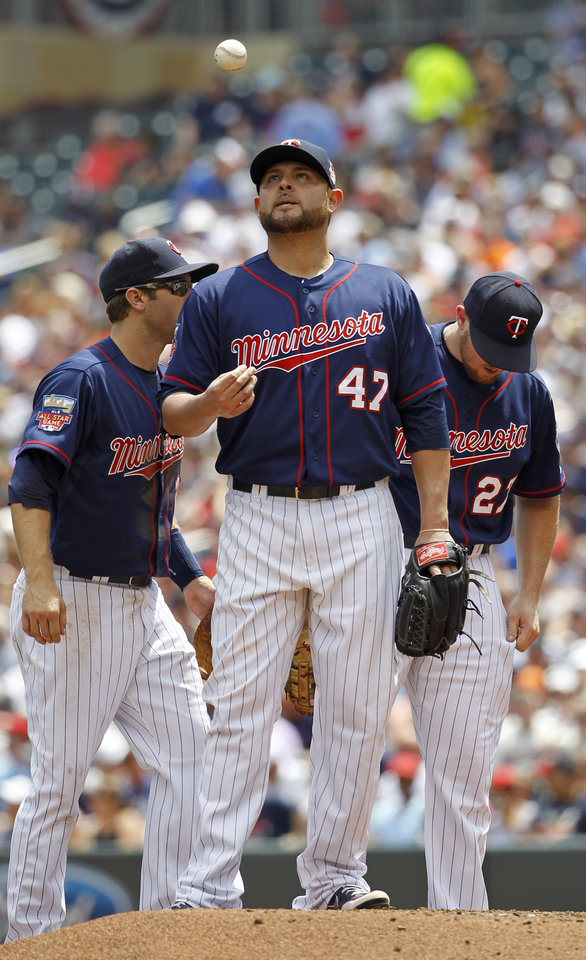 Photo - Minnesota Twins starting pitcher Ricky Nolasco (47) tosses a ball after giving up a single to New York Yankees'  Kelly Johnson to load the bases during the second inning of a baseball game in Minneapolis, Sunday, July 6, 2014. (AP Photo/Ann Heisenfelt)