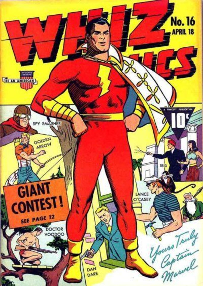 Photo - Captain Marvel, as published in Whiz Comics, was a top-selling character of the Golden Age. His magic word, Shazam, is now more frequently used as the name of the character, though it was originally the name of the wizard who gave Captain Marvel his powers.Did his classic costume make our panel's list?  [Fawcett Publications]