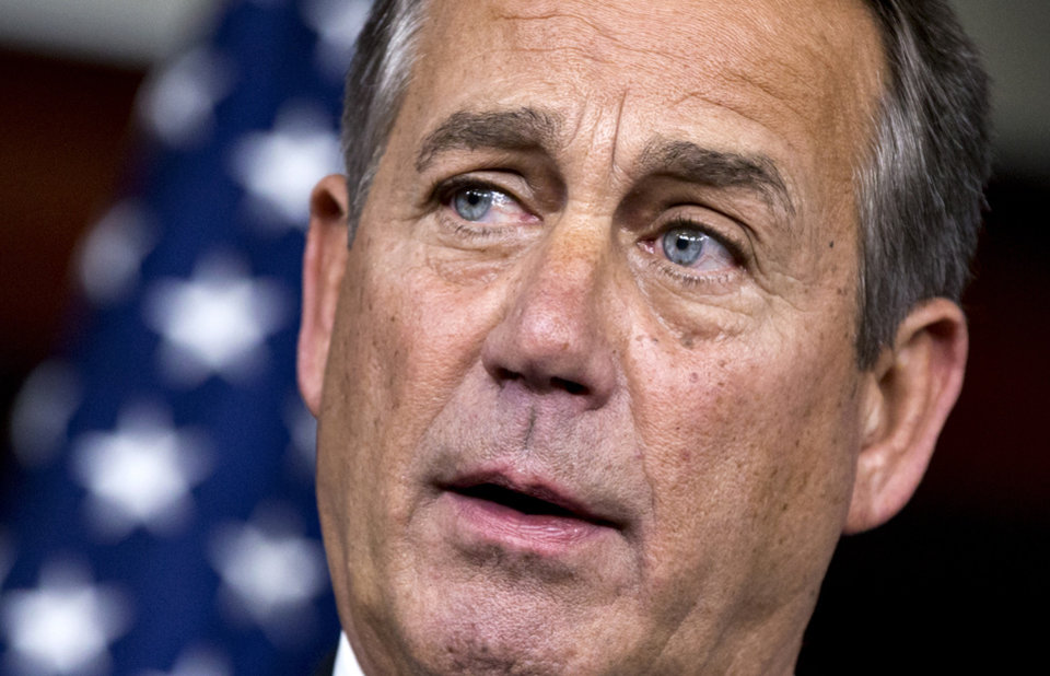 House Speaker John Boehner of Ohio accuses President Barack Obama of not being serious about cutting government spending, Thursday, Dec. 13, 2012, during a news conference on Capitol Hill in Washington. Boehner is insisting that Obama wants far more in tax increases than spending reductions and appears willing to walk the economy