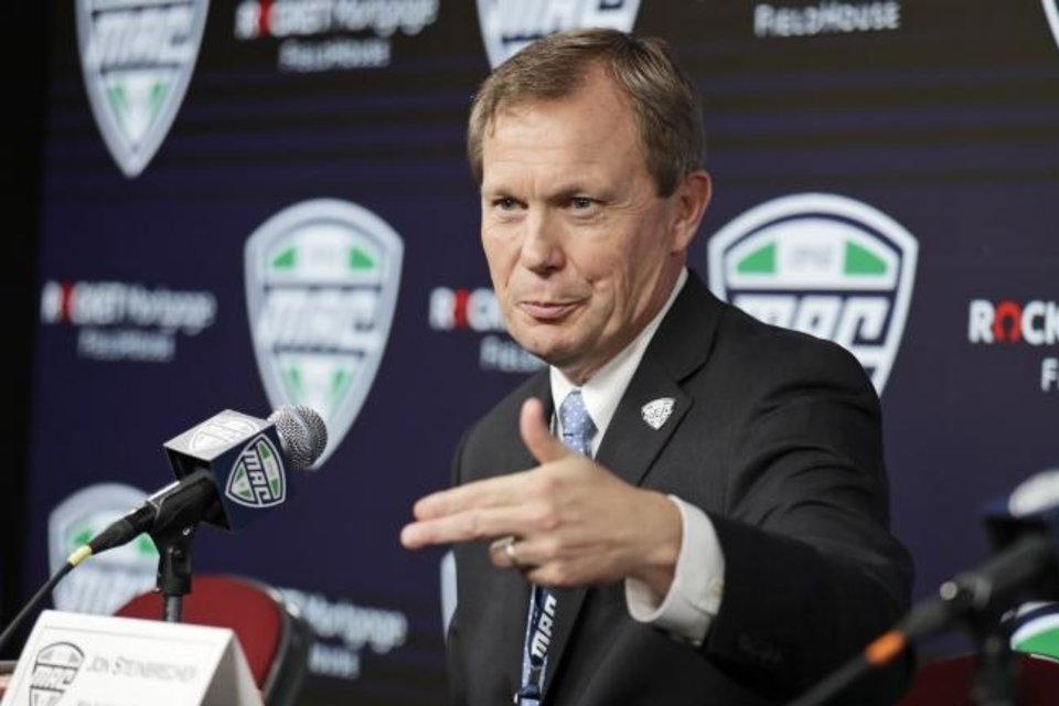 Photo -  Commissioner Jon Steinbrecher and the Mid-American Conference on Saturday, became the first league competing at college football's highest level to cancel its fall season because of COVID-19 concerns. [AP Photo/Tony Dejak, File]