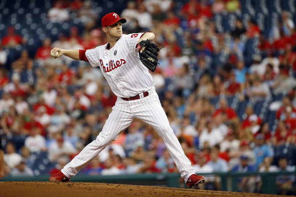 Photo - Philadelphia Phillies' Kyle Kendrick pitches during the third inning of an interleague baseball game against the Houston Astros, Tuesday, Aug. 5, 2014, in Philadelphia. (AP Photo/Matt Slocum)