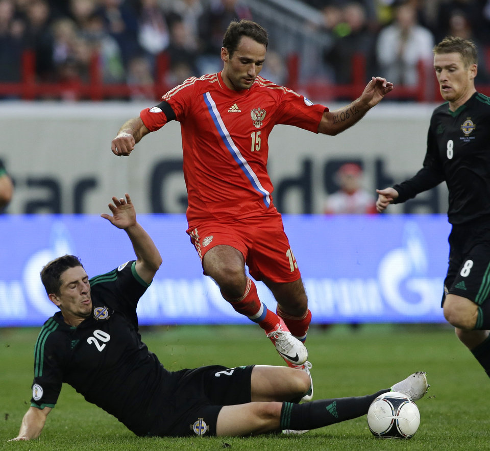 Photo - FILE - In this  Sept. 7, 2012, file photo, Russia's Roman Shirokov, center, fights for the ball with Northern Ireland Craig Cathcard, bottom and Steven Davis, right, during a Group F World Cup qualifying soccer match between Russia and Northern Ireland in Moscow. (AP Photo/Sergey Ponomarev, File) - SEE FURTHER WORLD CUP CONTENT AT APIMAGES.COM