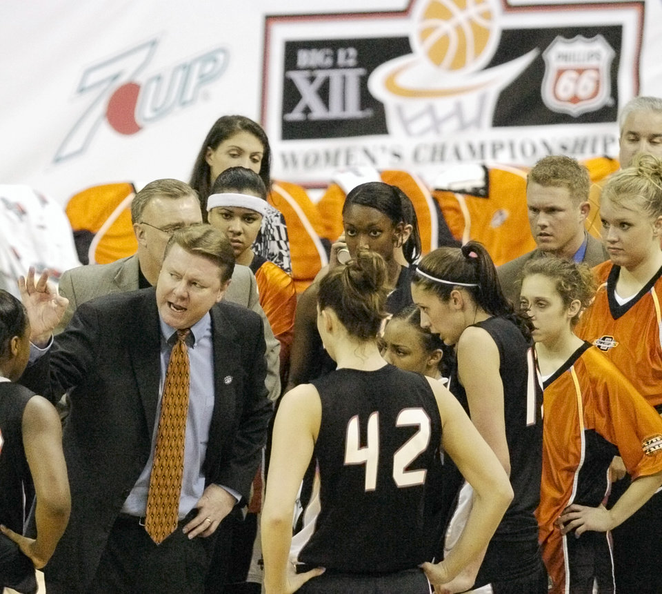 OSU head coach Kurt Budke talks to his team during a timeout in the first half during the Oklahoma State University (OSU) vs Texas Tech University women's college basketball game at the women's Big 12 conference tournament at Reunion Arena in Dallas, Texas, Tuesday, March 7, 2006. By Matt Strasen, The Oklahoman