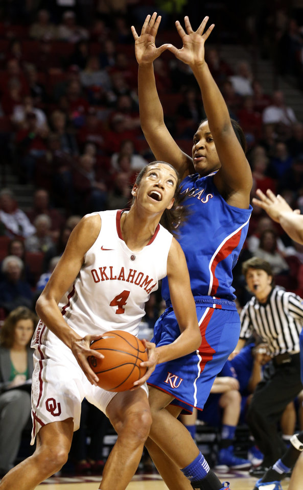 Photo - Oklahoma Sooner's Nicole Griffin (4) goes to the basket guarded by Kansas Jayhawks' Catherine (Bunny) Williams (5) as the University of Oklahoma Sooners (OU) play the Kansas Jayhawks in NCAA, women's college basketball at The Lloyd Noble Center on Saturday, March 2, 2013  in Norman, Okla. Photo by Steve Sisney, The Oklahoman