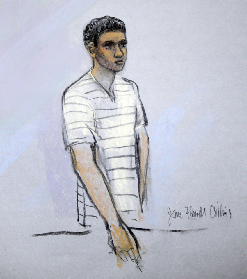 Photo - This courtroom sketch shows signed by artist Jane Flavell Collins defendant Robel Phillipos appearing in front of Federal Magistrate Marianne Bowler at the Moakley Federal Courthouse in Boston, Mass., Wednesday, May 1, 2013.  The Phillipos, and two other college friends of Boston Marathon bombing suspect Dzhokhar Tsarnaev, were arrested and charged with removing a backpack containing hollowed-out fireworks from Tsarnaev's dorm room. (AP Photo/Jane Flavell Collins)