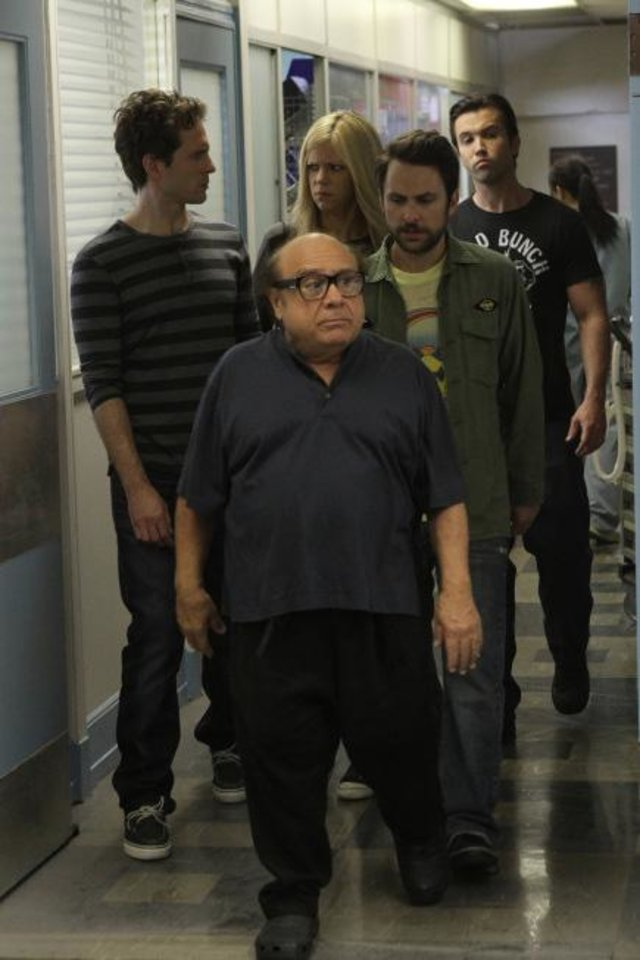 From left, Glenn Howerton as Dennis Reynolds, Danny DeVito as Frank Reynolds, Kaitlin Olson as Dee Reynolds, Charlie Day as Charlie Kelly, Rob McElhenney as Mac - FX Photos