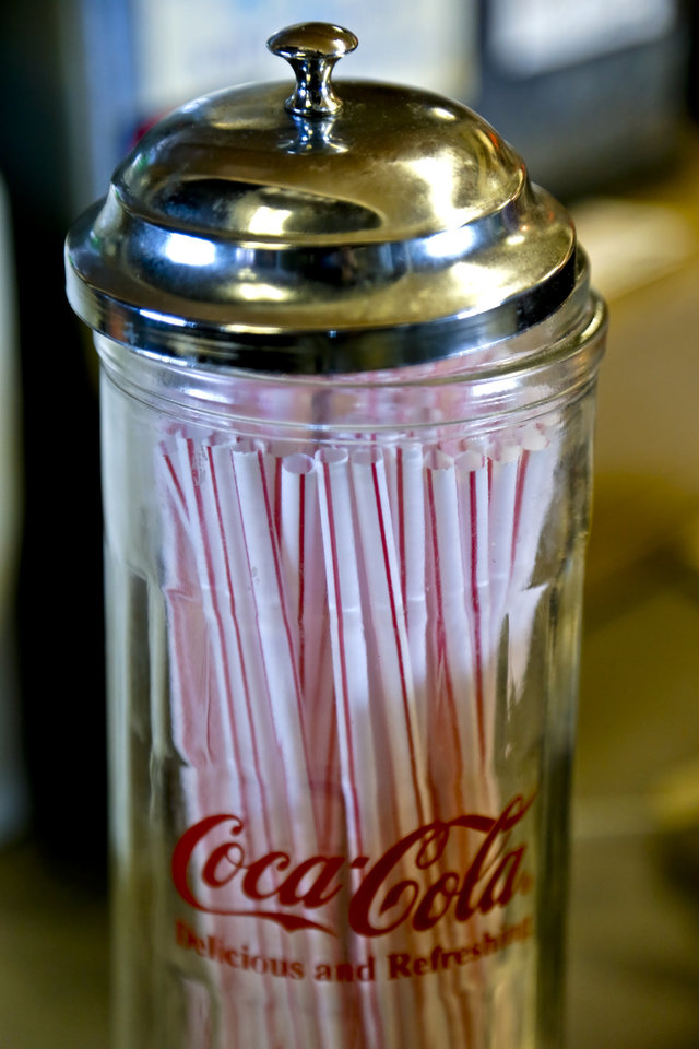 A straw dispenser at Ballard's Drive-In located in Pauls Valley, Okla. Monday July 16, 2012.   Photo by Chris Landsberger, The Oklahoman