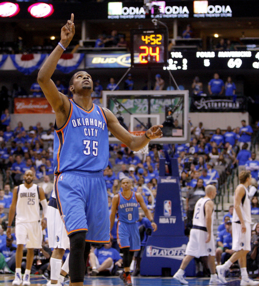 Oklahoma City's Kevin Durant (35) reacts during during Game 3 of the first round in the NBA playoffs between the Oklahoma City Thunder and the Dallas Mavericks at American Airlines Center in Dallas, Thursday, May 3, 2012. Oklahoma City won 95-79. Photo by Bryan Terry, The Oklahoman